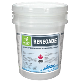 VELOCITY - RENEGADE: Demulsifier for Drilling Mud Waste Treatment   Drilling, Recycling Processors and Wate Treatment Companies Chemical Cleaning Solutions